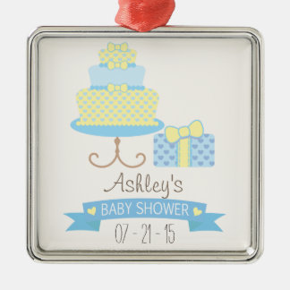 Pastel Blue & Pale Yellow Heart Cake Baby Shower Silver-Colored Square Decoration