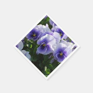 Pastel Blue Pansies Disposable Napkin