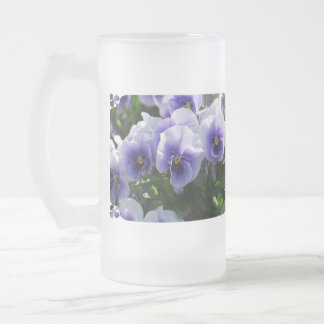 Pastel Blue Pansies Frosted Beer Mugs