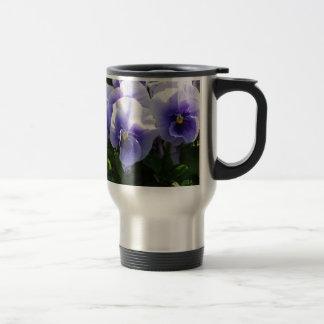 Pastel Blue Pansies Coffee Mugs