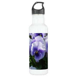 Pastel Blue Pansies 24oz Water Bottle