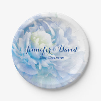 Pastel Blue Peony Wedding Custom Paper Plates