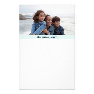 Pastel Blue Personalized Family Photo Personalised Stationery