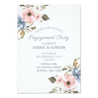 Pastel Blue Pink Purple Flower Wedding Engagement Card