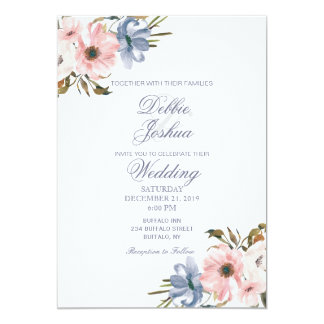Pastel Blue Pink Purple Flower Wedding Invitation