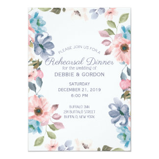 Pastel Blue Pink Purple Flower Wedding Rehearsal Card