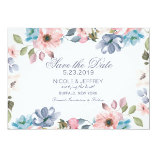 Pastel Blue Pink Purple Wedding Save the Date Card