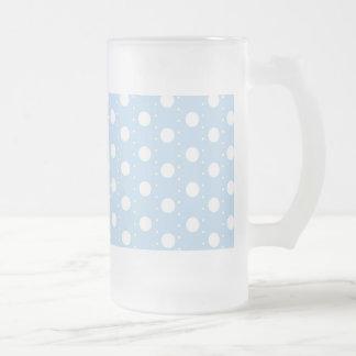 Pastel Blue Polka Dot Pattern Frosted Beer Mugs