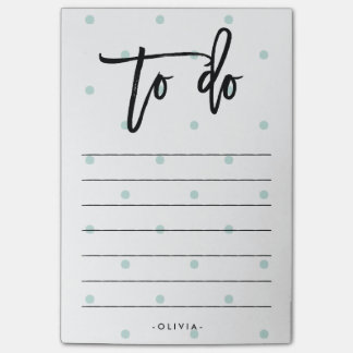 Pastel Blue Polka Dots and Modern Typography To Do Post-it Notes