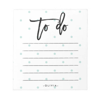 Pastel Blue Polka Dots and Typography To Do List Notepad