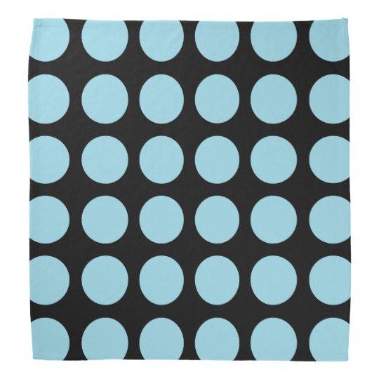 Pastel Blue Polka Dots Black Bandana