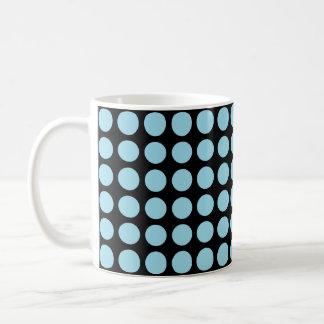 Pastel Blue Polka Dots Black Coffee Mug