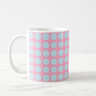 Pastel Blue Polka Dots Pink Coffee Mug