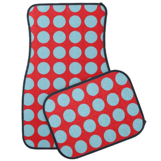 Pastel Blue Polka Dots Red Car Mat