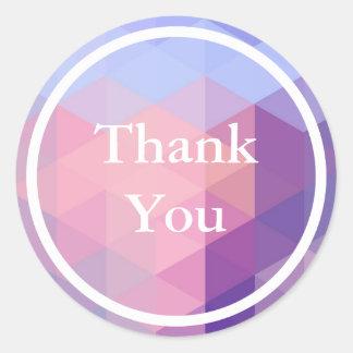 Pastel Blue Purple Geometric pattern Thank You Round Sticker