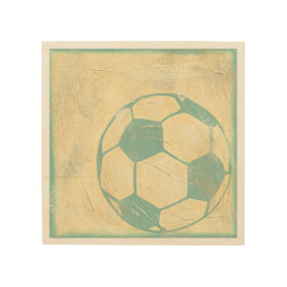 Pastel Blue Soccer Ball by Chariklia Zarris Wood Wall Decor