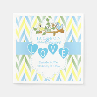 Pastel Blue Squirrel Design - Baby Boy Shower Disposable Napkins