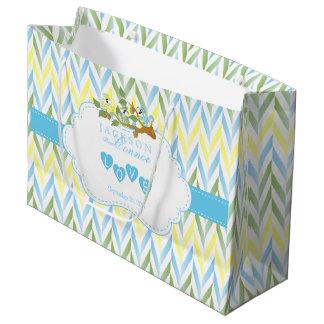 Pastel Blue Squirrel Design LG - Baby Boy Shower Large Gift Bag