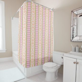 Pastel Blue Striped Pink Floral Green Polka Dots Shower Curtain