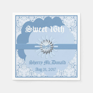 Pastel Blue Sweet 16th Paper Napkin