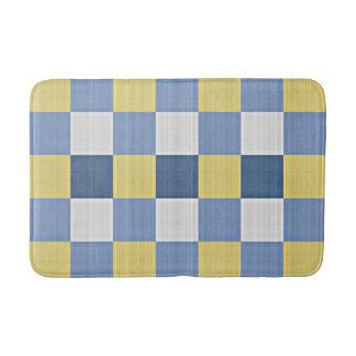 Pastel Blue Teal Yellow White Checkered Pattern Bath Mat