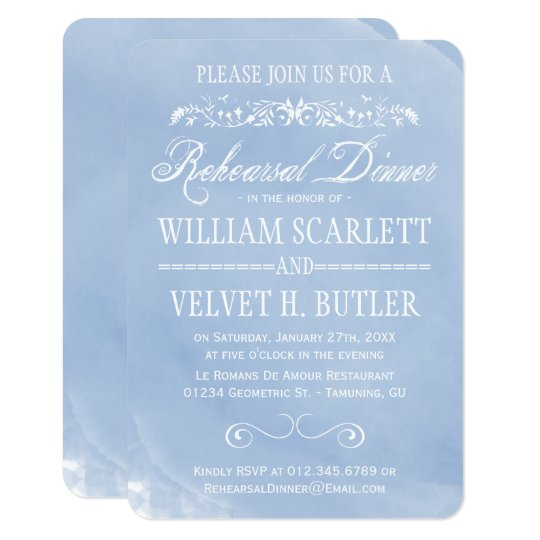 Pastel Blue Watercolor Rehearsal Dinner Invites