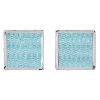 Pastel Blue Weave Mesh Look Silver Finish Cufflinks