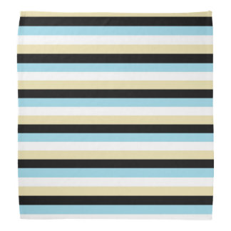 Pastel Blue, White, Beige and Black Stripes Bandana
