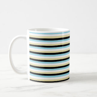 Pastel Blue, White, Beige and Black Stripes Coffee Mug