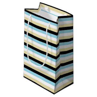Pastel Blue, White, Beige and Black Stripes Small Gift Bag