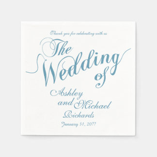 pastel blue & white wedding paper serviettes