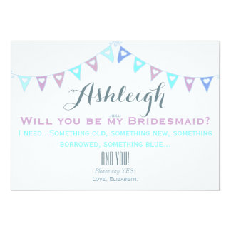 Pastel Blues and Lilac Will You Be My Bridesmaid? 13 Cm X 18 Cm Invitation Card