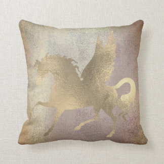 Pastel Blush Rose Gold Pegasus Painting Amethyst Cushion