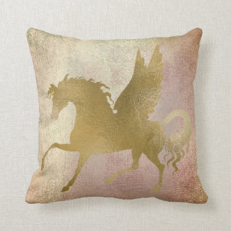 Pastel Blush Rose Gold Pegasus Painting Copper Cushion