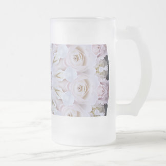 PASTEL BOHEMIAN KALEIDOSCOPIC GEOMETRIC MANDALA FROSTED GLASS BEER MUG