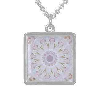 PASTEL BOHEMIAN KALEIDOSCOPIC GEOMETRIC MANDALA STERLING SILVER NECKLACE