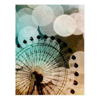 Pastel bokeh blue ferris wheel Carnival Postcard