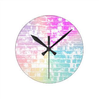 Pastel Bricks Round Clock