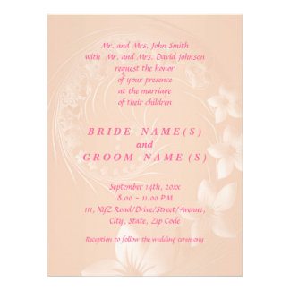 Pastel Brown Abstract Flowers Personalized Invite
