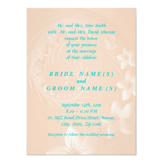 Pastel Brown Abstract Flowers 17 Cm X 22 Cm Invitation Card