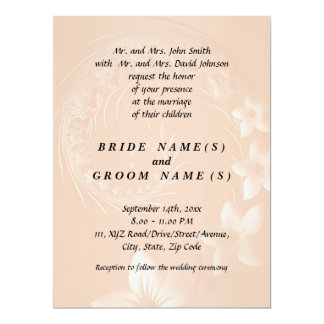 Pastel Brown Abstract Flowers Personalized Invites