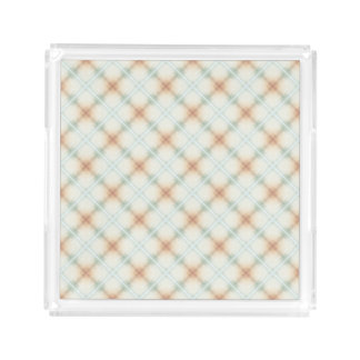 Pastel Brown And Blue Retro Pattern Acrylic Tray