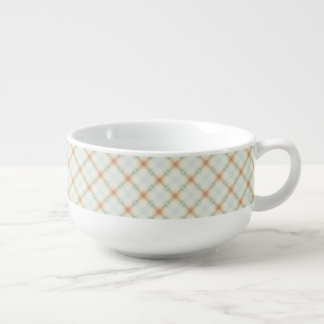 Pastel Brown And Blue Retro Pattern Soup Mug