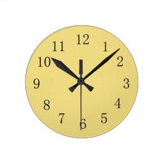 Pastel Buff Yellow Kitchen Wall Clock
