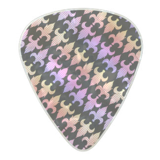 Pastel Buffalo Plaid Fleur De Lis Pearl Celluloid Guitar Pick