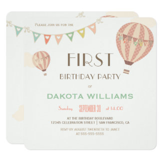 Pastel Bunting & Hot Air Balloons | First Birthday Card