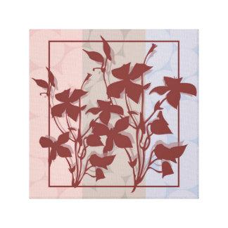 Pastel Burgendy Leaf Canvas Wall Art