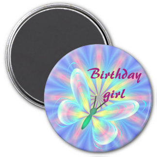 Pastel butterfly 7.5 cm round magnet