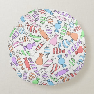 Pastel Candies round pillow