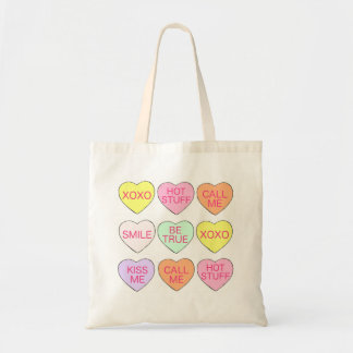 Pastel Candy Heart Hearts Valentine's Day Tote Budget Tote Bag